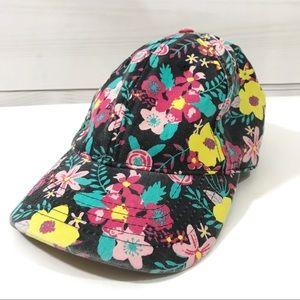 Floral Trucker Cap Baseball Hat Black Pink Yellow